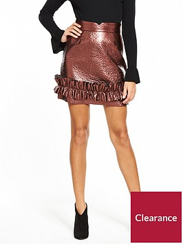 lost-ink-metallic-frill-hem-mini-skirt-rose-gold