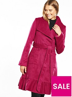 lost-ink-skirted-frill-hem-waterfall-coat-fuchsia