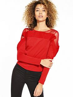 lost-ink-lightweight-oversized-pleated-top-red