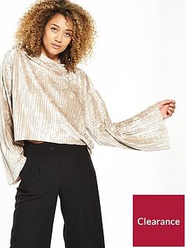 lost-ink-velvet-plisse-oversized-hoodie-gold