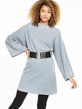 Lost Ink A-Line Jersey Fit And Flare Top - Light Grey