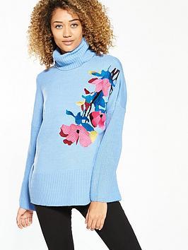 Lost Ink Floral Embroidered Jumper - Blue