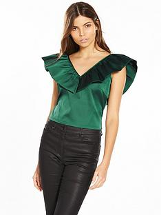 lost-ink-oversized-frill-crop-top-green