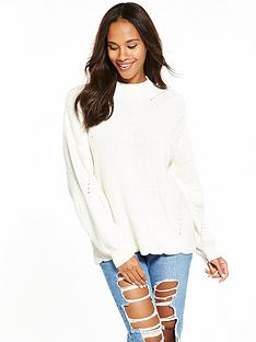 v-by-very-scallop-hem-ponitelle-detail-rib-jumper