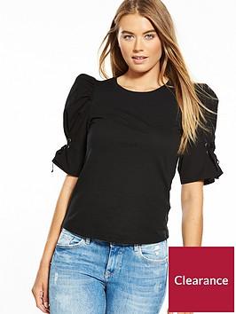 miss-selfridge-poplin-volume-sleeve-top-black