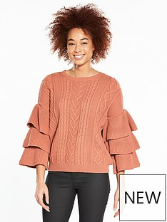 v-by-very-tiered-sleeve-cable-jumper-berry-rose