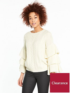 v-by-very-tiered-sleeve-cable-jumper