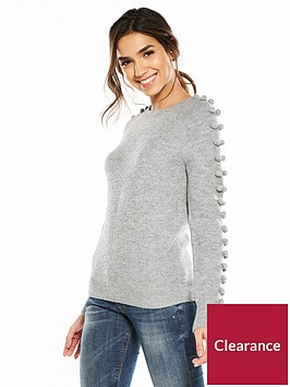 v-by-very-pom-pom-sleeve-detail-jumper-grey-marl