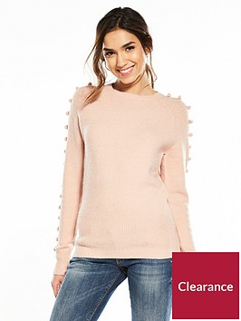 v-by-very-pom-pom-sleeve-detail-jumper-blush-pink