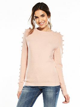 Photo of V by very pom pom sleeve detail jumper - blush pink