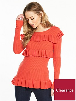 v-by-very-ribbed-tiered-frill-jumper-red