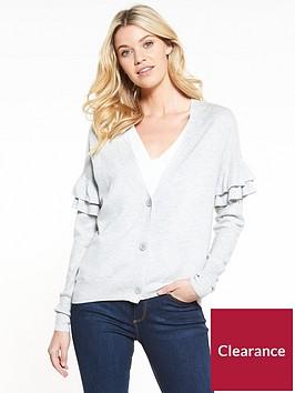 v-by-very-tiered-frill-sleeve-short-cardigan-grey-marl