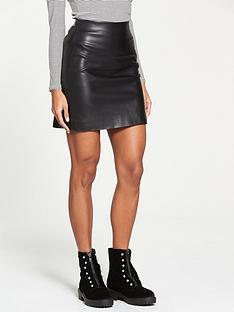 v-by-very-pu-mini-skirt-black