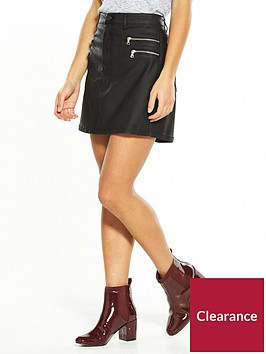 v-by-very-petite-zip-detail-coated-denim-skirt-black