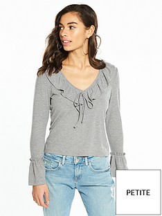 v-by-very-petite-ruffle-front-jersey-top