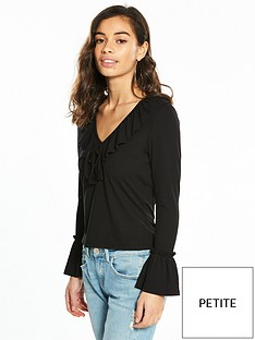 v-by-very-petite-ruffle-front-jersey-top-black