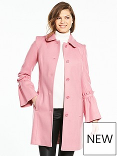 v-by-very-fluted-sleeve-dolly-coat-pink
