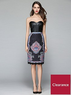 comino-couture-leather-look-bandeau-midi-dress