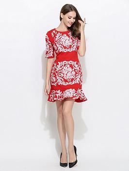 Comino Couture 3/4 Sleeve Frill Hem Embroidered Dress