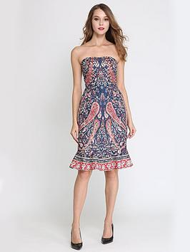 Comino Couture Comino Couture Bandeau Paisley Midi Dress