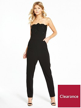 ax-paris-petite-lace-trim-jumpsuit-black