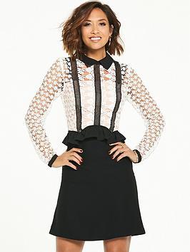 Myleene Klass Lace Frill Skater Dress - Mono