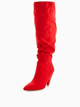 V By Very Icy Slouch Knee Boot Red