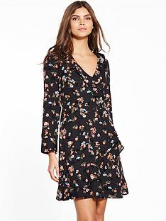 oasis-flocked-ruffle-dress