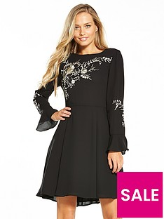 oasis-kimono-embroidered-dress-black