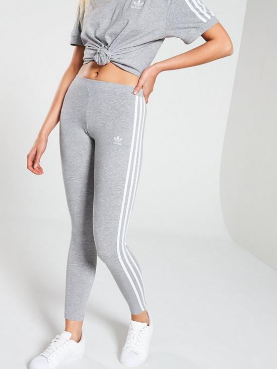 5687640013b adidas Originals adicolor 3 Stripe Tights - Grey | very.co.uk
