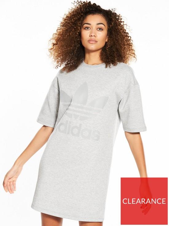 Sleeve Short Originals co uk Sweater Dress Adidas GreyVery uPXZki