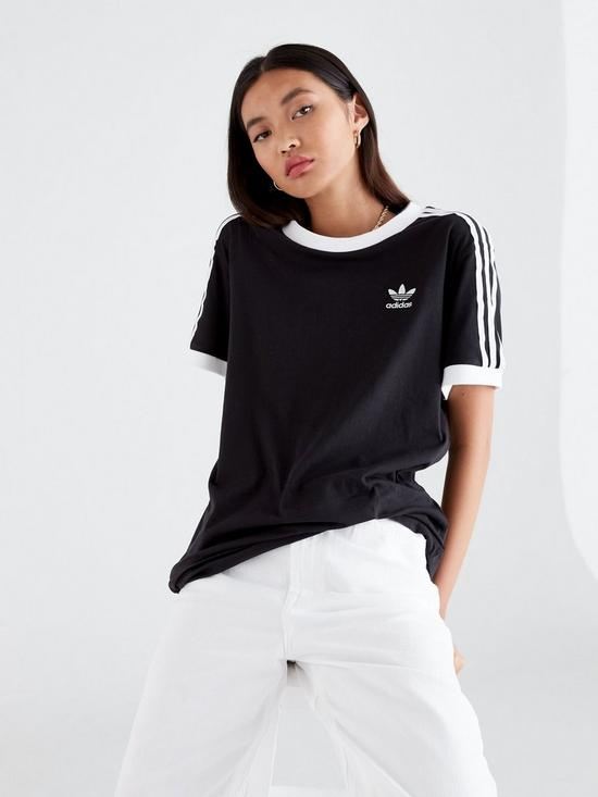f3b6c294316 adidas Originals adicolor 3 Stripes Tee - Black | very.co.uk