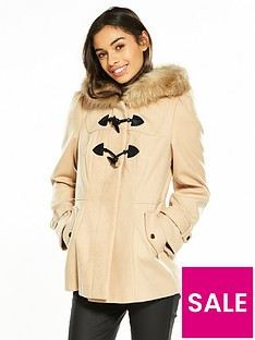 miss-selfridge-petite-stone-duffle-coat