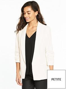 miss-selfridge-petite-ruched-sleeve-blazer