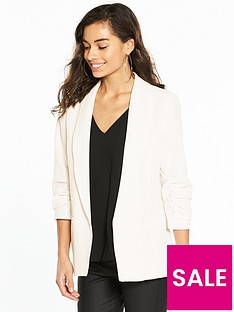 miss-selfridge-petite-ruched-sleeve-blazer