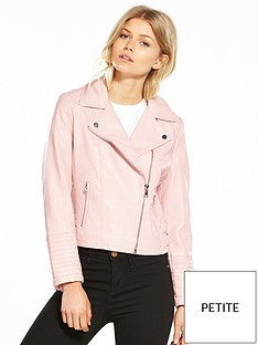 miss-selfridge-petite-pink-pu-biker