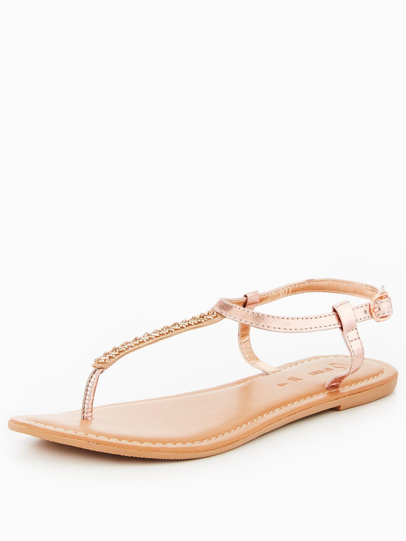 V by Very Melodie Leather Embellished Toe Post Sandal - Rose Gold