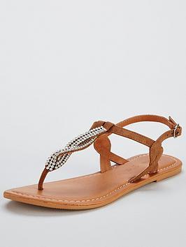 V By Very Twist Embellished Flat Sandal - Tan