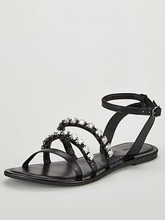 v-by-very-aphrodite-embellished-strappy-flat-sandal-black