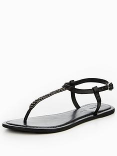 v-by-very-melodie-leather-embellished-toe-post-sandal-black