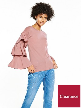 v-by-very-tiered-sleeve-snit-top