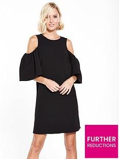 river-island-cold-shoulder-dress--black