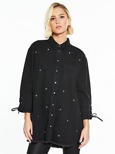 river-island-black-denim-shirt