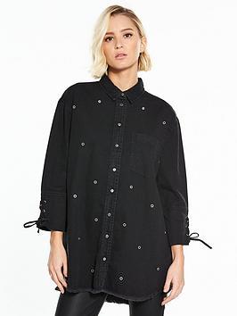 river-island-black-denim-shirt