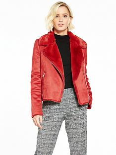 river-island-red-shearling-biker-jacket
