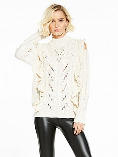 river-island-river-island-cream-cable-knit-frill-jumper