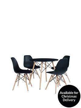 paris-80-cm-round-dining-table-4-chairs-black