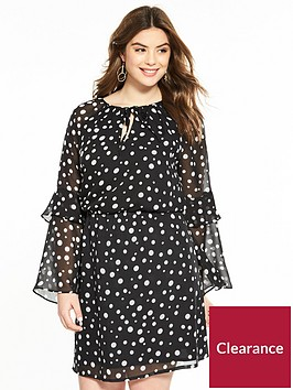 v-by-very-curve-printed-flute-sleeve-tea-dress-spot-print
