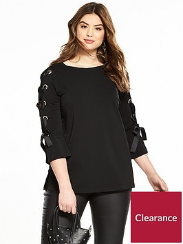 v-by-very-curve-eyelet-sleeve-detail-top-black