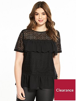 v-by-very-curve-lace-ruffle-top-black